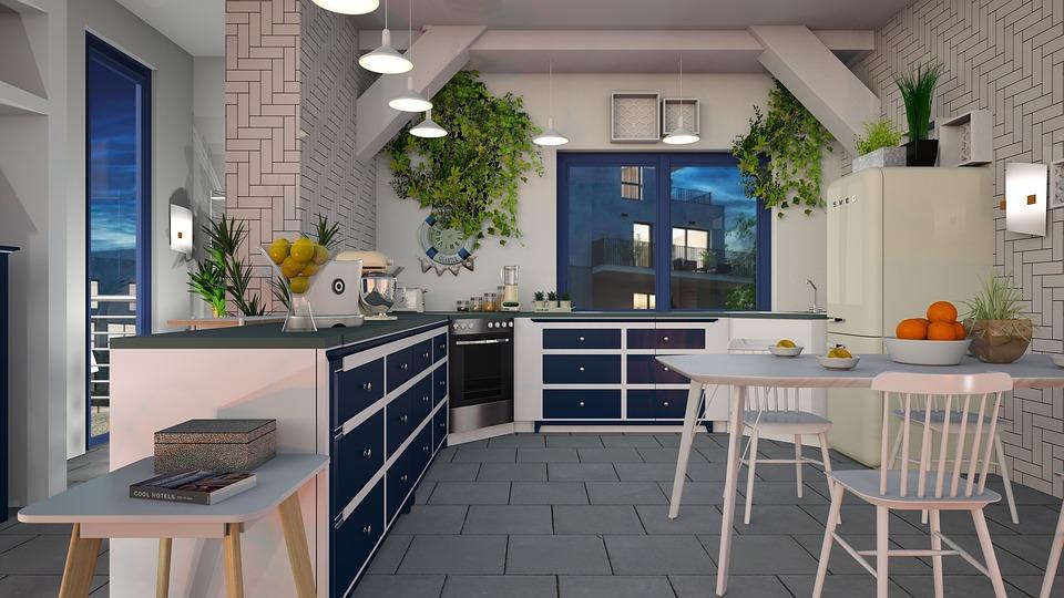 White kitchen with blue decor elements